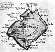 План острова Кокос с обозначением мест, где спрятаны сокровища пиратов.