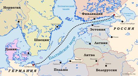 Карта - северный поток