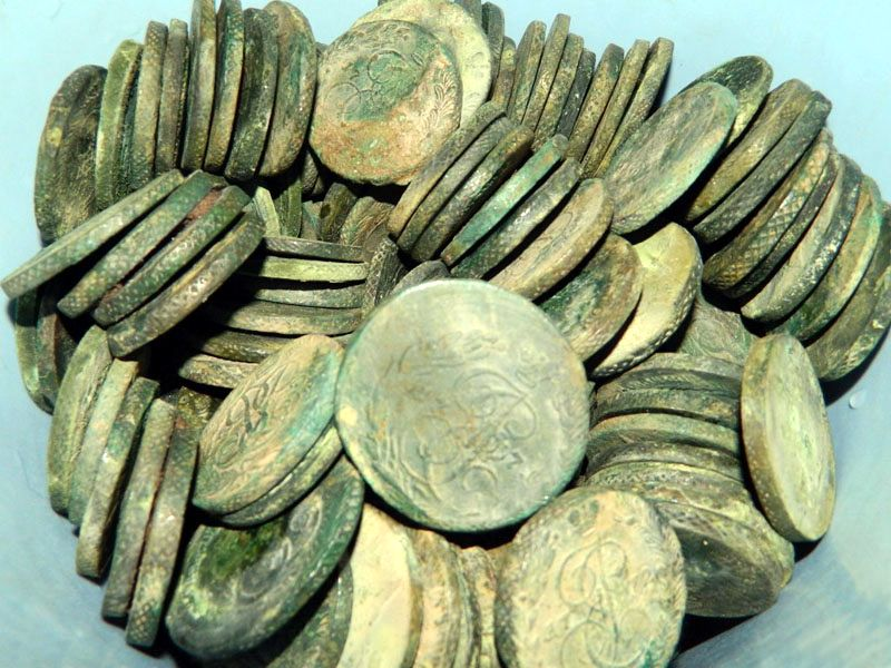 Клад медных монет, номиналом 5 копеек