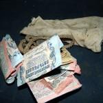 Клад из бумажных денег (бон) периода 20-х годов прошлого века