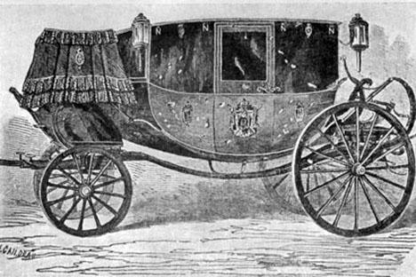 """Золоченая карета Наполеона III со следами повреждений. Воспроизведено в журнале """"Illustration"""" от 18 января 1858 года"""
