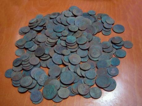 Клад медных монет времен Николая II