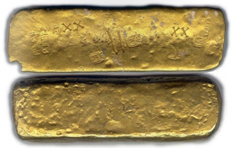 Huge, complete bar, 85.6 troy ounces, marked XX (20 karat, but looks higher), with various stampings of crowned lions, crowned castles, owner/foundry TF/R/ELLO. Largest gold bar ever found on the 1715 fleet!
