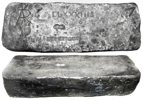 "Large silver bar #718, Class Factor 1.0, 88 lb 4.48 oz troy. 14"" x 5-1/4"" x 3-1/2"". Choice specimen with bold, clear markings, including manifest number DLXXXITII, fineness TTUCLXXX (2380/2400)"