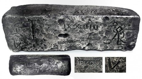 "Large silver bar from the Atocha (1622), 79 lb 10.08 oz troy, fineness 2380/2400, Class Factor 0.8, dated 1622, Potosi foundry. 14"" x 4-1/2"" x 3-1/2"""