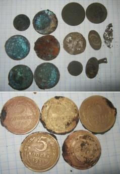 В железной коробочке было 10 копеек 1932 года и 5 пятаков 1928,1929,1930,1931,1932