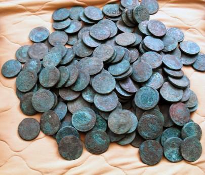 Клад медных монет номиналом 2 и 5 копеек