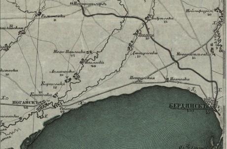 Специальная карта Европейской России –  Бердянск (Украина и прилегающая территория)