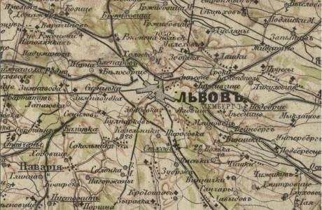Специальная карта Европейской России – Львов (Украина и прилегающая территория)