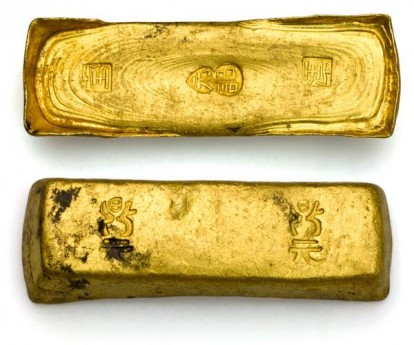 Китайские обувные слитки от кораблекрушения. 147 китайских золотых слитков были из Кантона .. 22+ carot золота