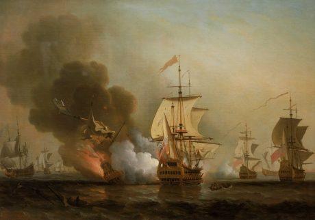 "Картина Сэмюэля Скотта ""Морская битва при Картахене"". Изображён момент взрыва на корабле ""Сан-Хосе""."